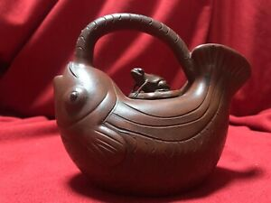 Yixing Clay Teapot Koi Fish With Frog Cap Signed And Handmade In China
