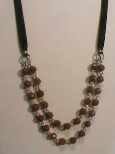 Coca Cola Brown Faceted Bead Double Strand Choker Necklace