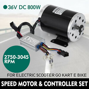 36v Dc Electric Brushed Speed Motor 800w And Controller Go Kart 3000 Rpm 25h 11t