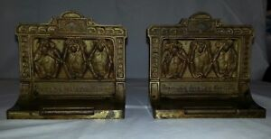 Antique Bradley Hubbard Speak See Hear No Evil Monkey Cast Iron Bookends