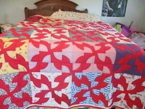 Vintage Hand Stitched Cotton Batted Quilt Mostly Christmas Red