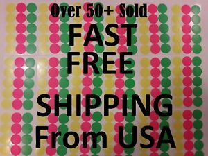 315 Yard Garage Rummage Sale Price Tags Blank Sticker 3 Neon Colors Label 3 4