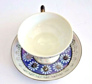 Royal Sealy Footed China Tea Cup Saucer Daisies Blue Replacement Vintage