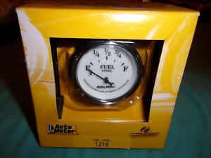 Autometer 1216 Old Tyme White Ii 2 1 16 Fuel Level Gas Gauge Ohms 240e 33full