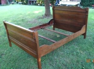 Antique 3 4 Size Bed Pine Poplar With Carvings
