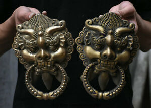 8 Chinese Fengshui Copper Guardian Evil Foo Fu Dog Lion Head Door Knocker Pair