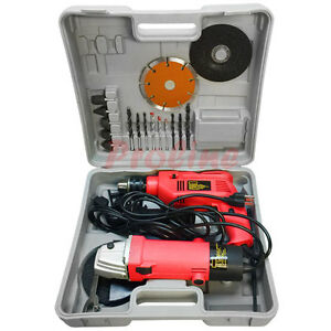 4 1 2 Angle Grinder 1 2 Hammer Drill Kit Diamond Blade Cut off Tool Kit