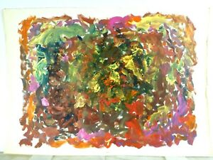 Vintage Abstract Expressionist Colorist Painting Mid Century Modern Signed 1960s