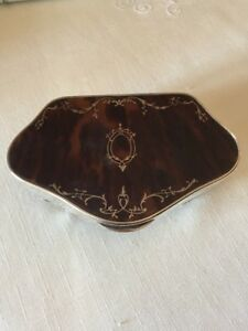 Solid Silver Faux Tortoiseshell Pique Trinket Jewellery Box Excellent Condition