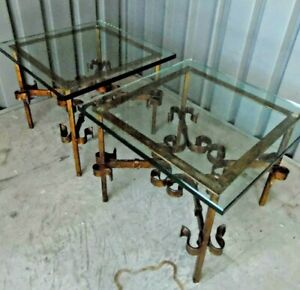 Vintage Gilt Iron Thick Glass Pair Tables After Silas Seandel 20x20x16 5 Mcm