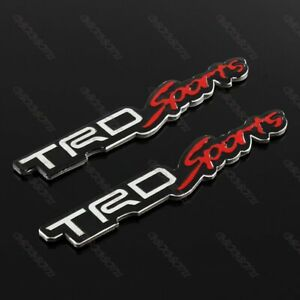 2pcs Toyota Trd Sports 3d Car Trunk Side Fender Emblem Badge Sticker Decal 7