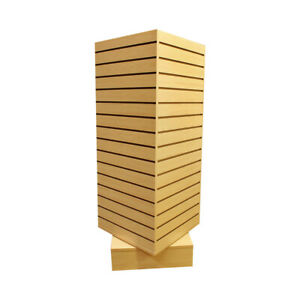 Maple 20 x20 x54 Revolving Slatwall Floor Display Rotating Cube Tower 4sided