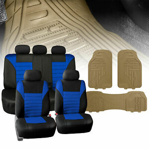 Universal Full Interior Set Blue Seat Covers Beige Floor Mats Combo For Auto