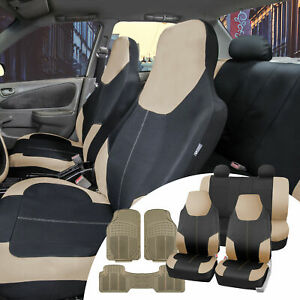 Neoprene Beige Seat Covers Universal W Beige All Weather Floor Mats For Car
