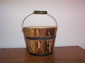 Antique Primitive Small Wooden Berry Bucket Pail Old Vintage Wood Handle