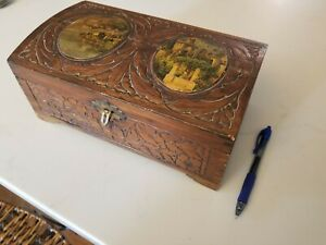 Vintage Embossed Wooden Hinged Lidded Box With Italian Countryside Picture