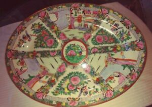 Beautiful Large Size Chinese Rose Medallion Oval Serving Platter 16 3 8 L X 12 W