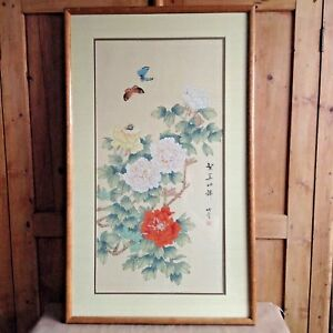 Vintage Chinese Painting On Silk Peonies With Butterflies