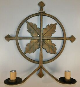 Antique Mission Gothic Celtic Iron Cross Life Circle Altar Candle Wall Sconce