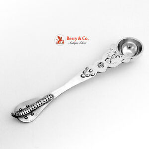 Unusual Anointing Spoon Sterling Silver Snake Handle