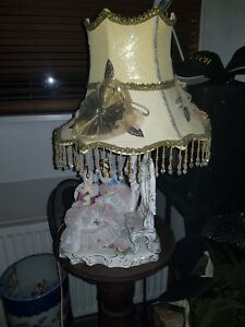 Dresden Porcelain Lace Group Whit Lamp