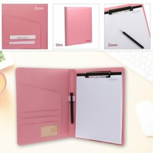 Junior Padfolio Pu Leather Resume Storage Clipboard Folder Portfolio Pink