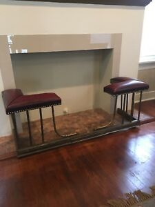 Reduced 60 Antique Brass Fireplace Fender Red Leather Seats Expands Will Ship