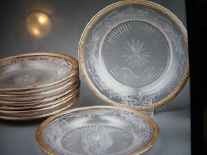Antique French Silver 950 Minerva Rim Etched Crystal Set Of 8 Dessert Plates