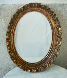 Antique French Oval Wood Gold Gilt Frame Hanging Wall Mirror 14 25 X11 5
