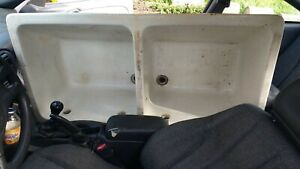 Antique Double Basin Cement Utility Laundry Sink Year 110 Old Nyc W Covers