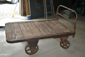 Antique Railroad Factory Industrial Cart Steampunk Tv Cart Coffee Table