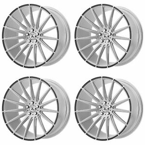 4x Asanti 22x10 5 Abl 14 Polaris Wheels Brushed Silver Carbon Fiber 5x4 5 35