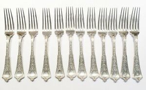 Tiffany Co Sterling Silver Persian Flatware Set Of 12 Dinner Forks
