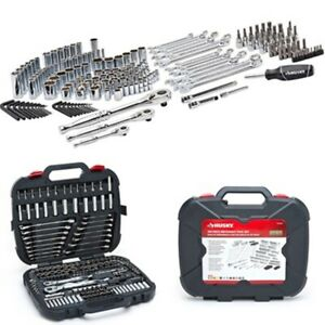 Husky 185 Pcs Mechanics Tool Set Car Boat Ratchets Sockets Hand Tool Kit Case