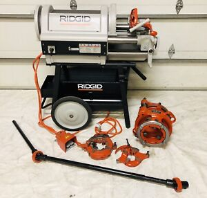 Ridgid 1224 Pipe Threader 1 2 6 Dies 161 Drive Bar Rolling Cart 300 535