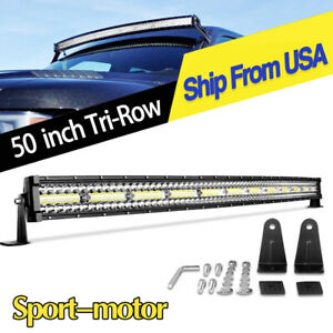 50inch Curved Tri Row Led Light Bar 720w Flood Spot Driving Offroad For Jeep 52