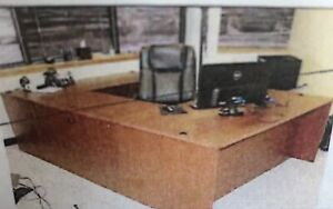Cherryman Jade U shape Executive Office Desk Cherry Veneer