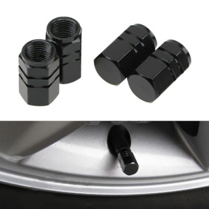 4pcs Car Truck Black Aluminum Tire Wheel Tyre Stem Air Valve Caps Dust Covers