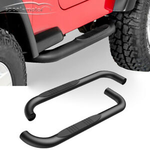 Fit 1987 2006 Jeep Wrangler Tj Yj 3 Nerf Bars Pair Set Side Step Running Boards
