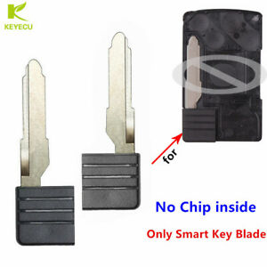 2x Replacement Uncut Smart Keyless Entry Card Remote Emergency Insert Key Blade