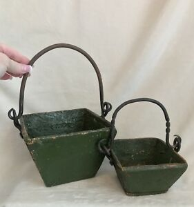 Antique Chinese Set 2 Wood Iron Handled Rice Grain Measure Berry Buckets Green