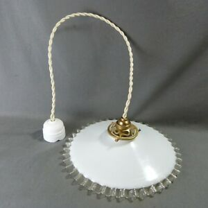 Vintage French Ruffled Opaline Milk Glass Ceiling Shade W Hardware 10