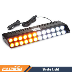 Amber White 12 Led Auto Windshield Strobe Light Emergency Flash Warning Lamps Us