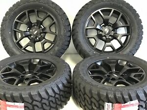 20 Chevy Gmc Off Road Wheels Tires Package 5698 08 19 Satin Black 6x139 Mud