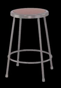 Work Shop Stool Gray Steel Round Seat Home Garage Office Lab Furniture Chair