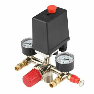 Adjustable Pressure Switch Air Compressor With 2 Press Gauges Valve Control Set