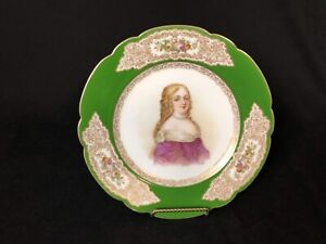 Antique Sevres Madame De Montespan 9 1 2 Scalloped Plate Green Floral Gold Rim