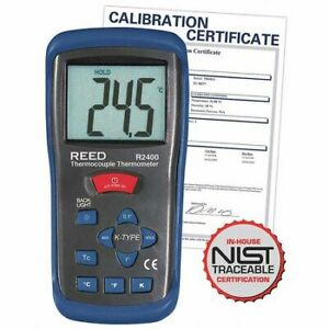 Reed Instruments R2400 nist Thermometer type K Thermo nist Cert