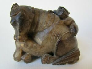 Antique Horse Monkey Stone Marble Soap Stone Chinese Figurine