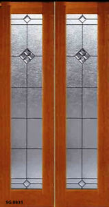 1 Set Leaded Glass Solid Wood Interior Doors For 36 40 W X 82 Wall Opening